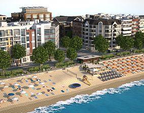 3D asset low-poly Beach Town