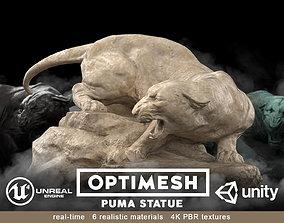 realtime Puma wild cat Statue - 3D PBR model