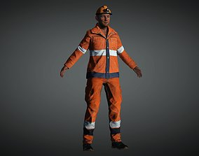 Construction Worker Low-poly 3D model rigged