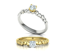 Solitaire Engagement ring Hearts design model 111