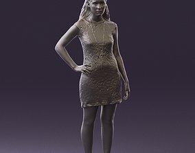 printable Woman in dark blue dress 0728 3D Print Ready