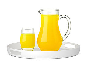Pitcher and glass of orange juice 3D