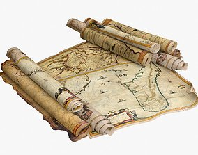 Old African Maps 3D asset