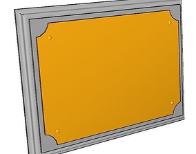 3D model simple wood and metal plaque