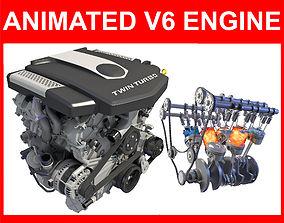 V6 Engine with Gasoline Ignition Animation 3D