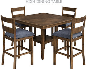 game-ready High Quality Counter High Dining Table 3d model