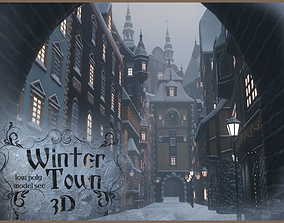 Winter Town 3D asset low-poly