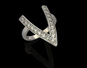3D printable model Ring with diamonds engagement