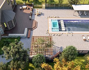 3D model Backyard Design of residential house