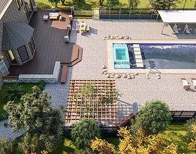 3D model Backyard Design of residential house