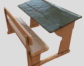 old school desk 3D asset VR / AR ready