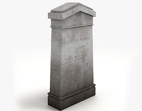 Lowpoly Tombstone 4 3D asset