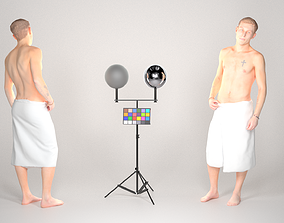 Handsome man wrapped in white towel 25 3D asset