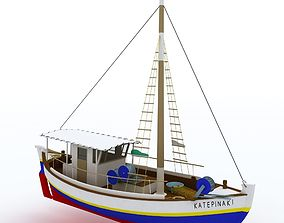 traditional fish boat Mediterranean sea 3D