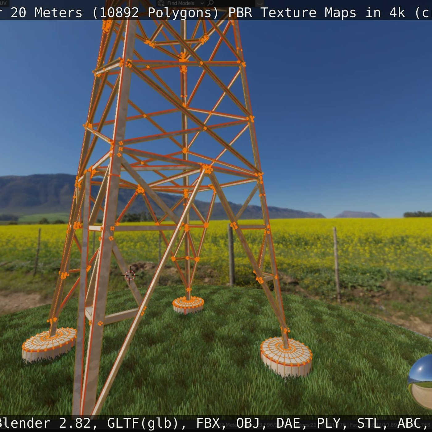 Transmission Tower 22 Meters Low-poly