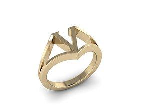 3D printable model Jewelry Alphabet Ring V