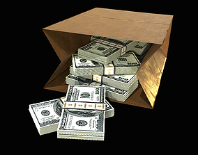 Paper Bag with cash PBR 3D model
