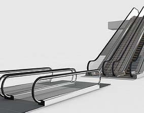 3D model animated Escalator and Moving Walkway Rigged