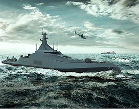 Concept Frigate Ship 3D model
