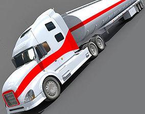 Red Striped Volvo Truck 4 3D model