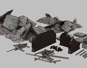 Rubble Brick and Concrete Elements 3D asset