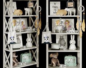 3D model Kids bookshelf set 03