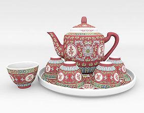 3D Chinese Porcelain Wan Shou Tea Set