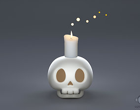 3D model Human skull with candle light