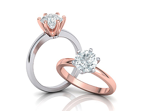Classic Solitaire Engagement ring Big stone 3dmodel