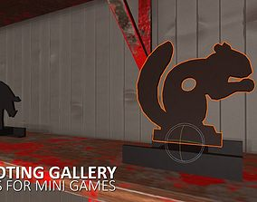 Shooting gallery - props for mini games 3D model