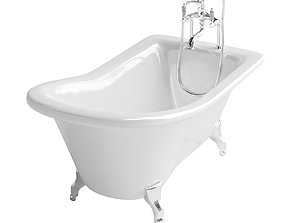 3D model Freestanding bath with oldstyle mixer