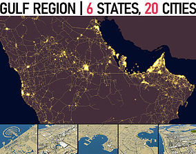 Complete Gulf Region 6 Countries 20 Cities 3D model
