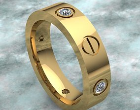 3D printable model Golden Band Ring With 4 6