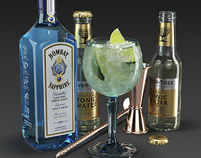 3D model Bombay Sapphire Cocktail Set