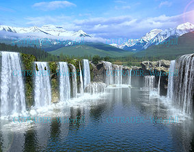 3D model animated waterfall