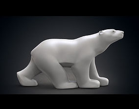3D model Polar Bear Modern Marble Sculpture