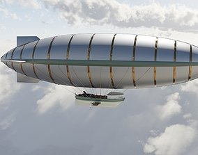 Steampunk airship 3D model PBR