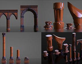 3D model Pillars Set - Stone Fantasy Sci-Fi
