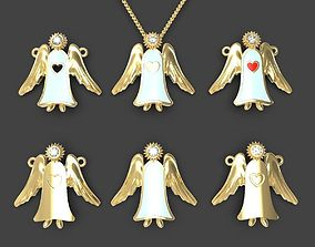 Guardian angel pendant or pin set 3D printable model