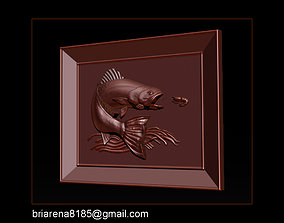 3D print model Salmon Bas Relief for cnc carving