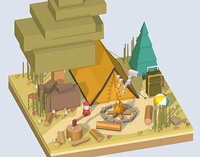 3D model isometric camping ground near a big tree