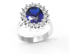 Ring Engagment Saphira PRINCESS Ring 3D print model