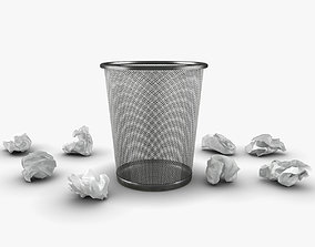 3D asset Trash bin and crumpled paper