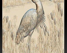Heron in the Reeds -relief -2019 3D print model