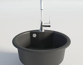 3D model Kitchen Black Single Round Sink