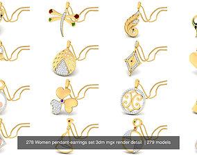 278 Women pendant-earrings set 3dm mgx render