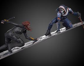 Black Widow vs Taskmaster Diorama 3D print model