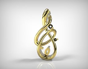 3D print model Jewelry Golden Pendant Music Sign