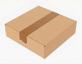 Box sealed with packing tape mockup 05 3D model