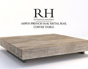 Restoration Hardware Aspen French Oak Metal Rail Coffee 3D